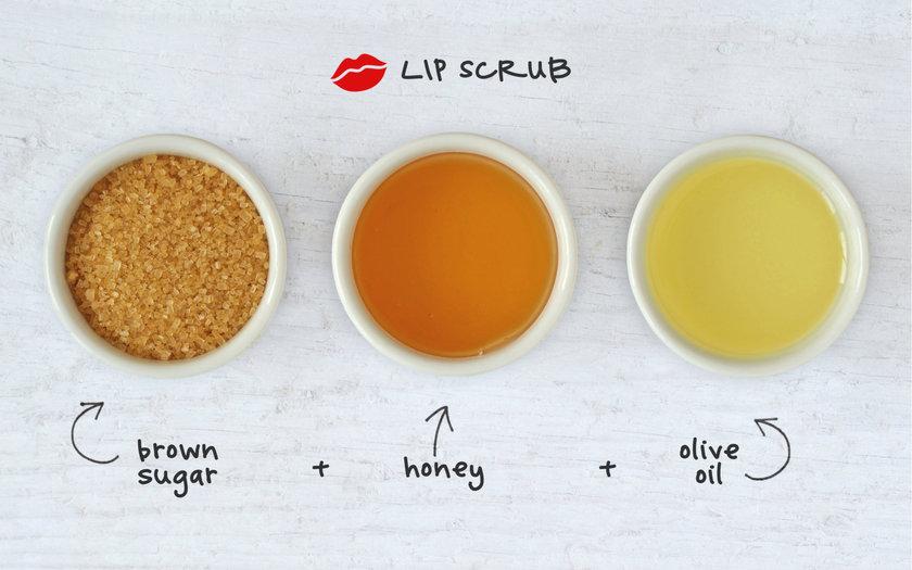 Esfoliante labial de açúcar mascavo, mel e óleo