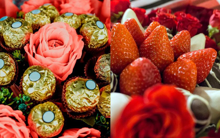 Buquê de flores com chocolate