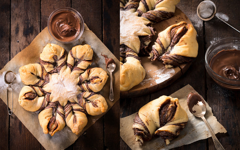 Pão estrelado de Nutella