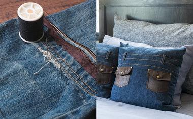 Almofada feita com calça jeans velha