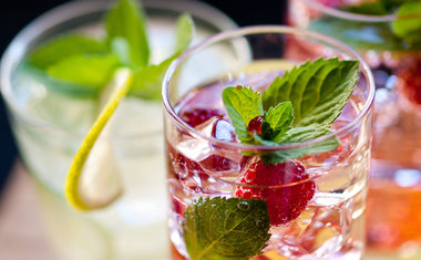 Gin e Tônica com chá de frutas vermelhas