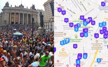 App lança mapa interativo que mostra blocos e festas de Carnaval próximos ao usuário