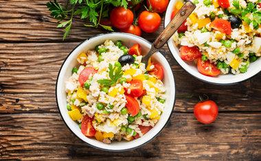 Salada de arroz e tomate seco