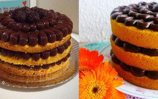 Naked cake com ganache