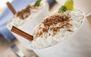 Arroz doce com chocolate branco