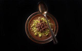 Mousse de chocolate e pistache
