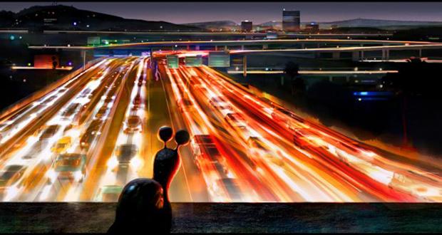 Turbo observa uma avenida cheia de carros rápidos