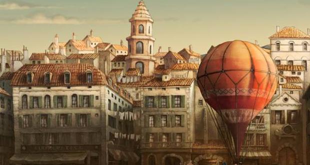 Um balão de ar e uma cidade do filme Zarafa
