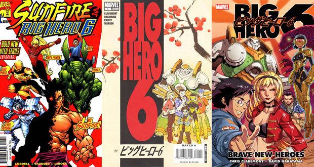 Quadrinhos da Marvel com a equipe de Big Hero 6