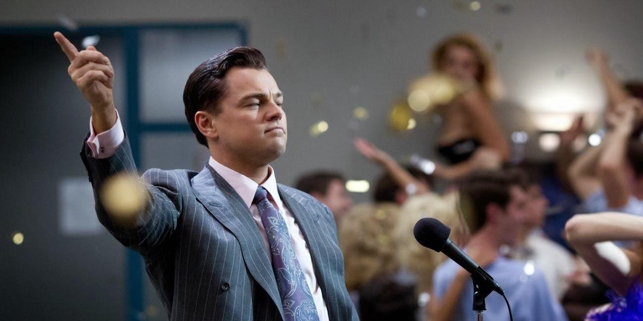 Leonardo DiCaprio em O Lobo de Wall Street