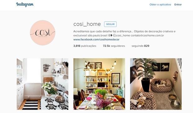Cosi home Perfis do Instagram para quem gosta de decoração