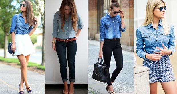 Camisa jeans por dentro da calça
