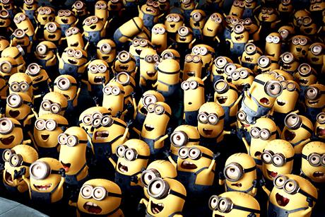 Multidão de Minions exaltados em Meu malvado Favorito